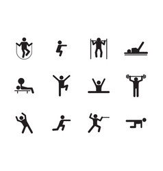 sports workout icons silhouette set fitness vector image