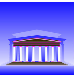 stylized museum building on a blue background vector image