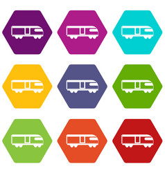 Swiss mountain train icon set color hexahedron vector