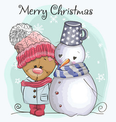 Teddy bear in a knitted cap and snowman vector