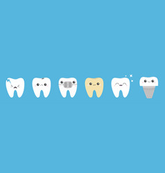 teeth icon set line cracked broken healthy white vector image