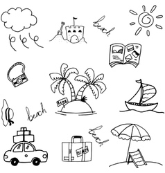 Travel holiday set doodle vector