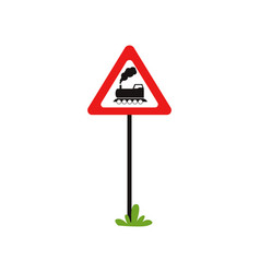 triangular road sign with train without barrier vector image
