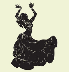 Tribal fusion bellydancer dance silhouette vector