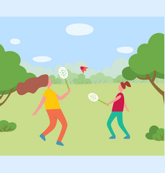 Two girls having fun playing badminton together vector