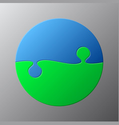 Two piece puzzle circle diagram puzzle 2 steps vector