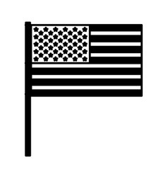 United states flag with pole black silhouette vector