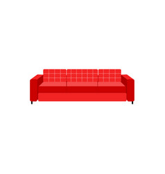 upholstered red leather or fabric couch icon vector image