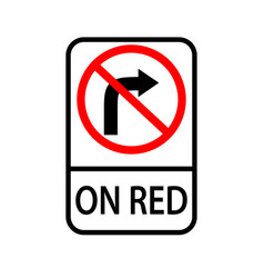 usa traffic road signs no right turn on red vector image