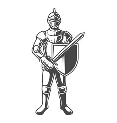 Vintage monochrome brave knight vector
