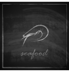 vintage with a prawn on blackboard background vector image