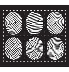 White fingerprint icon set vector image