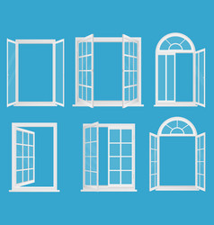 white wooden plastic realistic windows set vector image