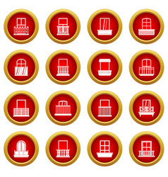 Window forms icon red circle set vector