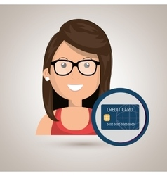 woman credit card money vector image