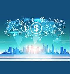 world map futuristic dollar money icon interface vector image