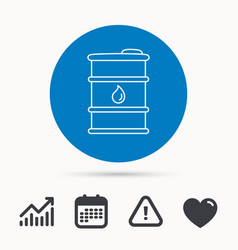 barrel of oil icon cask with water drop sign vector image
