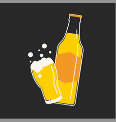 beer bottle and glass vector image