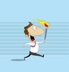 Businessman runs holding burning torch vector