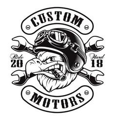Eagle biker t-shirt design monochrome version vector