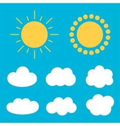 Flat design cartoon cute cloud and sun set vector image