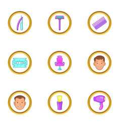 hairdresser tools icons set cartoon style vector image vector image