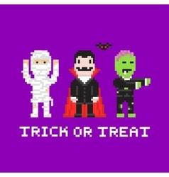 Pixel art game style cartoon halloween mummy vector image vector image
