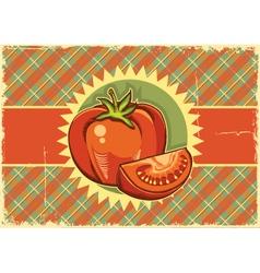 Red tomatos Vintage label vector image