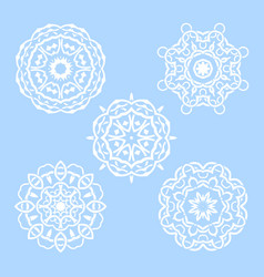 set of five round snowflakes mandala vector image vector image