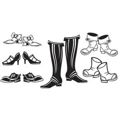 set of retro shoes vector image vector image