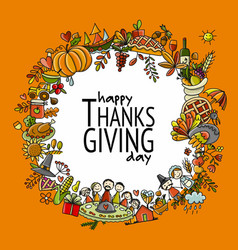 thanksgiving day hand drawn frame for your design vector image
