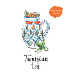 Tunisian tea watercolor vector