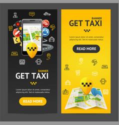 get taxi service banner vecrtical set vector image vector image