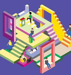 Isometric man in levels vector