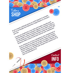 Tailors shop poster template with buttons vector