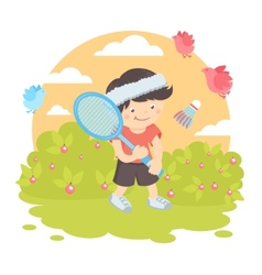 Boy playing badminton vector image