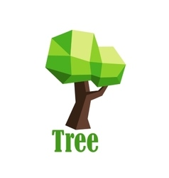 Green polygonal tree abstract icon vector