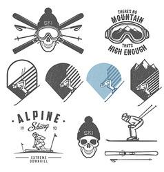 Set of retro ski emblems badges and design elemen vector image vector image