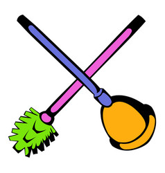 toilet plunger and brush icon icon cartoon vector image