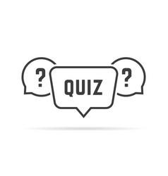 black simple quiz with speech bubbles vector image