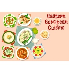 Eastern european cuisine dinner dishes icon vector image vector image