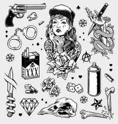 edgy black and white tattoo flash set vector image