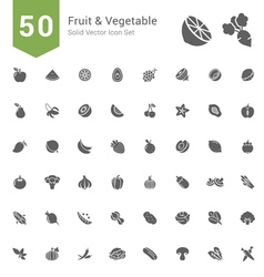 Fruit and Vegetable Solid Icon Set vector image