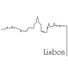 lisbon city one line drawing background vector image vector image