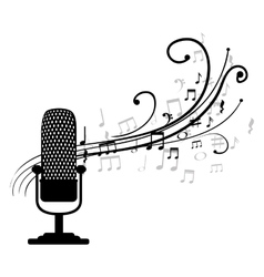 Microphone retro with musical pattern vector