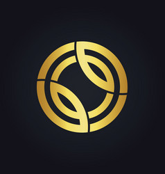 round technology line connection gold logo vector image