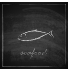 Vintage with a fish on blackboard background vector