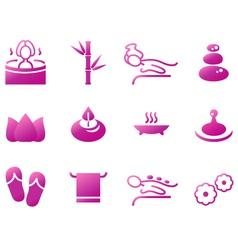 Wellness spa sauna and massage icons vector image