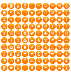 100 arrow icons set orange vector image
