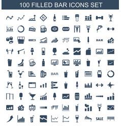 100 bar icons vector